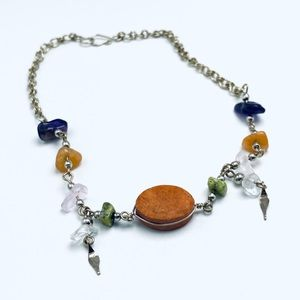 Handmade jasper and natural stone silver anklet